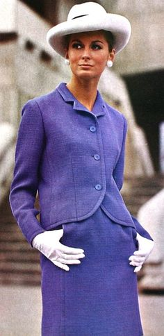 Vogue Pattern Book April-May 1969 Softly shaped suit in violet wool by Mattli Photo Richard Dormer