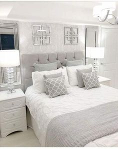 68 Ideas bedroom wall decor white guest rooms for 2019 Grey Bedroom Decor, Trendy Bedroom, Bedroom Colors, Living Room Decor, Master Bedrooms, White Bedroom Furniture Grey Walls, Grey Bedroom Wallpaper, Design Bedroom, Master Bedroom Grey