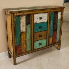 Delaney Antique Multicolor Distressed Wood Storage Cabinet