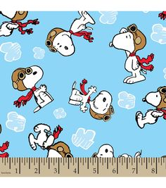 Peanuts™ Print Fabric-Snoopy Flying Ace | Personalized Fabric | Online Only Product