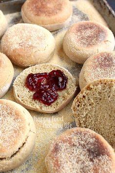 Whole Wheat English Muffin, English Muffin Recipes, English Muffin Bread, Homemade English Muffins, English Food, Real Food Recipes, Cooking Recipes, Flour Recipes, Healthy Recipes