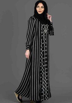 Designer Black and white Striped #Abaya at Haiqah!! Visit: https://www.haiqah.co.uk/products/black-and-white-striped-abaya?variant=20265937863