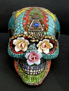 Día de los Muertos (.:.) Day of the Dead mosaic skull ~ Laurel Skye