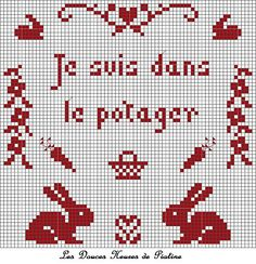 grille je suis dans le potager Blog, Cross Stitch, Easter, Embroidery, Holiday Decor, How To Make, Stitching, Lavender, Couture