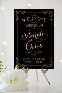 Welcome to our Wedding Sign - Poster Sized Wedding Sign - Personalized - Vintage Art Deco Style - I Create and You Print