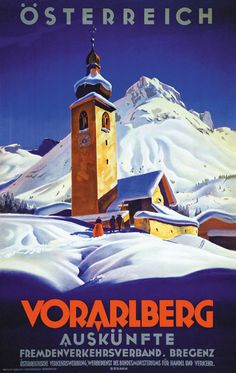 Vintage Travel Switzerland. Vorarlberg Berann