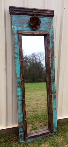 Handmade Rustic Dressing Mirror in Turquoise and Dark Stain