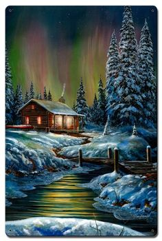 "Jim Hansel ""Fire and Ice"" Northern Lights Art Print SN x Winter Landscape, Landscape Art, Landscape Paintings, Winter Pictures, Nature Pictures, Beautiful Paintings, Beautiful Landscapes, Borealis Lights, Kinkade Paintings"