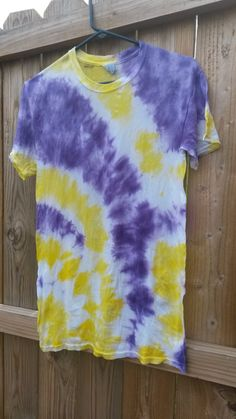 Purple and Yellow TieDye Shirt by MessyMommasTieDyes on Etsy, $11.00