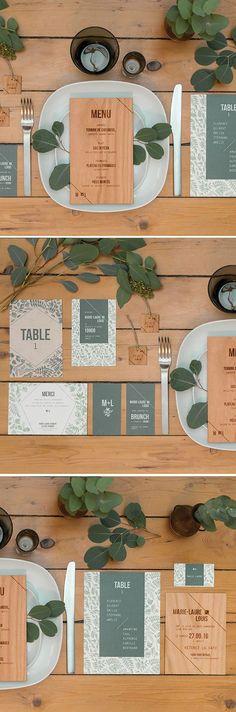 mariage wood folk | wedding invitation | stationery | papeterie mariage | mariage rustique | wedding kinfolk | invitation wood | celadon | vegetal | nature