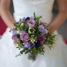 Lucy & Stephen's Real Wedding - Pretty Purple Bridal Bouquet