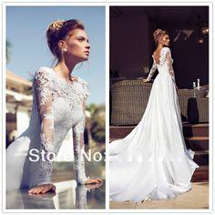 2014 Vestidos De Noiva Sexy Bridal Gown Vintage Mermaid High Neck Lace Long Sleeve Applique White Satin Chapel Wedding Dress $155.00