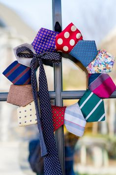 Cute idea for a Spring wreath - home decorating.     Great way to use old ties.