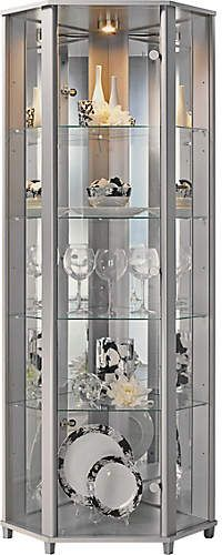 Home 1 Glass Door Corner Display Cabinet Silver Effect Glass Cabinets Display Glass Shelves In Bathroom Glass Shelves Decor