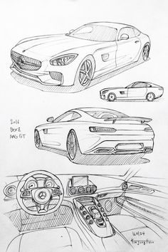 Car drawing 160124. 2016 Benz AMG GT. Prisma on paper. Kim.J.H
