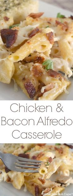 Chicken & Bacon Alfredo Casserole, a wonderfully comforting dish that has layers of Alfredo goodness. Comfort food at its best!