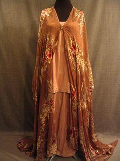 Pajamas and Drape 1920s 3pc, rose brown floral silk, B37 W28-33.JPG