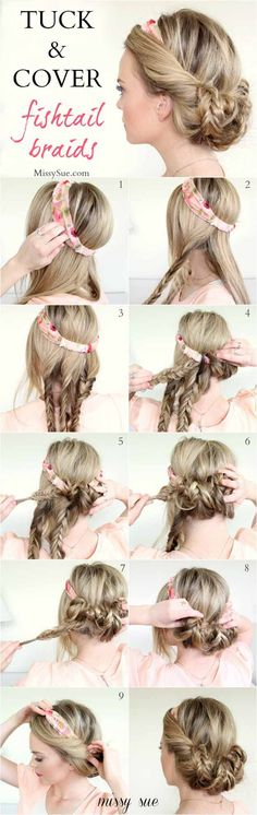 Sweet Hairstyles You Can Do With a Scarf - Tuck and Cover Fishtail Braids - Try - Hairstyle Cute Long Hair - Hair Side Hairstyles, Wedding Hairstyles For Long Hair, Trendy Hairstyles, Braided Hairstyles, Hair Wedding, Beautiful Hairstyles, Goddess Hairstyles, Bridesmaid Hairstyles, Wedding Braids