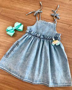 Para as princesas que amam vestidinho jeans! 🥰 💘Tamanho 1, 2, 3 e 8. 💘WhatsApp (62)98301-0104 . 💘WhatsApp (62)98250-5468. 💘Loja física… Kids Dress Wear, Little Girl Dresses, Baby Dress, Girls Dresses, Summer Dresses, Baby Wearing, Diy Clothes, Kids Fashion, Girl Outfits