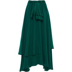 Alcoolique Aqua Layered Panel Skirt (850 CAD) ❤ liked on Polyvore featuring skirts, green, aqua skirt, layered ruffle skirt, double layer skirt, flounce skirt and frilly skirt