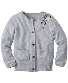 Fine gauge cotton softness, floral embroidery and sweet sweatercraft details make this season-spanning cardigan even favoriter. Crafted from super-quality yarns to wear, wash and be wonderful week in, week out.  <br>•100% combed cotton yarns <br>•Mixed sweaterknits <br>•Hand embroidered art <br>•Front button placket <br>•Front patch pockets <br>•Certified by OEKO-TEX® Standard 100 | 03.U.9375 - FI Hohenstein <br>•Machine wash <br>•Imported
