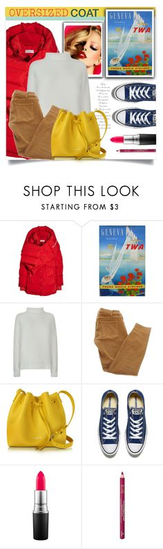 """""""Oversized Coat: La Suisse"""" by rosalie45 ❤ liked on Polyvore featuring Balenciaga, Vince, Current/Elliott, Lancaster, Converse, MAC Cosmetics and Milani"""