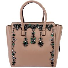 VALENTINO embellished tote (7.065 BRL) ❤ liked on Polyvore featuring bags, handbags, tote bags, valentino, purses, nude, leather purses, genuine leather tote, leather tote handbags and zip top tote