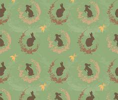 Jade Moon Rabbit - Spearmint fabric by bee