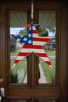 American Flag Burlap Star  Patriotic Door by BordleyHouseDesigns