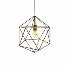 Bronze Geometric Pendant Light Handmade Hanging Light Cage Polyhedron Industrial…
