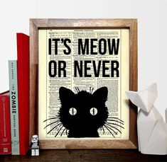 It's Meow Or Never Cat Typography Vintage Book by StayGoldMedia