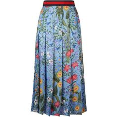 Gucci Floral Print Pleated Skirt | Harrods.com ❤ liked on Polyvore featuring skirts, flower print skirt, floral knee length skirt, floral printed skirt, gucci and blue skirt