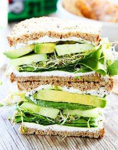 Cucumber and avocado sandwich. Light, crunchy and guaranteed to keep you full until dinner.