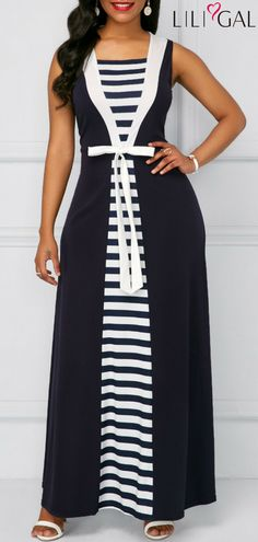 Bowknot Detail Striped Square Collar Maxi Dress   #liligal #dresses #womenswear #womensfashion