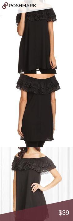 Off the shoulder black top Sassy Bling , Paisley vine brand off the shoulder Tunic length Blouse black, lace embellished Tops Blouses