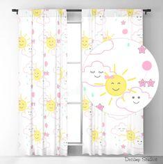 Nursery Curtains Girl, Baby Nursery Decor, Girl Nursery, Happy Sun, Star Cloud, Rain Clouds, Star Decorations, Sheer Curtains, Pink Girl
