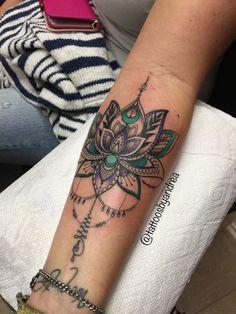 Mehndi Lotus by @tattoosbyandrea   #lotustattoo #lotus #unalome #forearmtattoo #tattooideas #mehndi #henna #purple #teal #tattoosbyandrea
