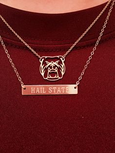 Hail state bulldog necklace