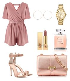 """rose and gold"" by stylebyceylins ❤ liked on Polyvore featuring Miss Selfridge, Aspinal of London, Gianvito Rossi, Michael Kors, Anita Ko and Yves Saint Laurent"