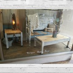 White distressed coffee table and end table table. $109.99 $49.99 #cherisheverymoment #upcycled #homedecor