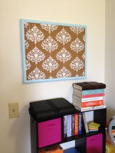 Bulletin Board Makeover at Me and My DIY -- fun idea, maybe navy stripes, or VV whales.