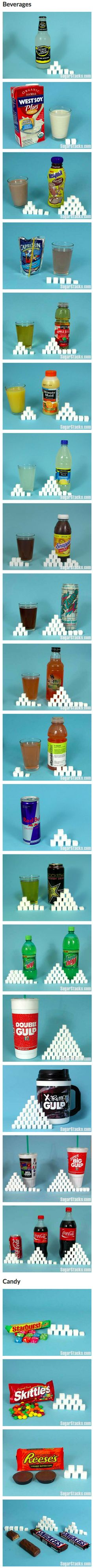 Do you know how much sugar you're consuming every day? Take a look at this list of foods and beverages and find out how much sugar each of them have. Each cube represents 4 grams of sugar.