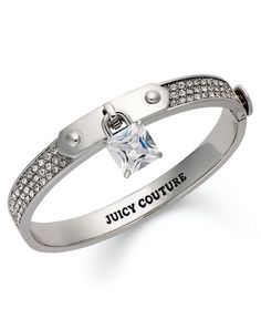 Juicy Couture Bracelet, Silver Tone Skinny Padlock Crystal Bracelet - Fashion Jewelry - Jewelry & Watches - Macy's