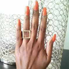 SQUARE RING... Look at how pretty my nails were!  Ring available online at  www.fabfrosting.com.  #realnails #putaringonit