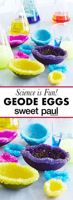 Here, crystals form from a supersaturated solution and grow directly on the Alum attached to the eggshell by the glue. The egg dye gives the crystals their color and the result is very similar to a real geode.