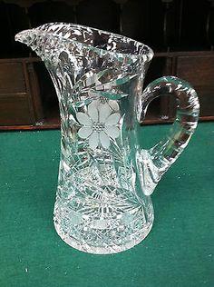 """VINTAGE/ANTIQUE CUT GLASS PITCHER (FLORAL DESIGN) 9"""" EXCELLENT CONDITION"""