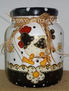 Espaço Artesanal: ♥Pote Galinha Country 02 e ♥Porta Filtro de Café Galinha Country