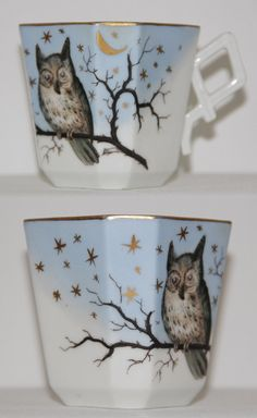 Antique Victorian Hand Painted Porcelain Cup OWL by bellusvanitas