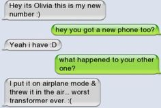 Transformer - Ownage - Autocorrect Fails and Funny Text Messages - SmartphOWNED Funny Phone Texts, Stupid Texts, Funny Texts Jokes, Text Jokes, Funny Text Fails, Funny Shit, Stupid Funny Memes, Funny Relatable Memes, Funny Stuff
