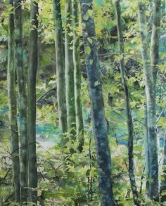 watercolor painting of trees and leaves